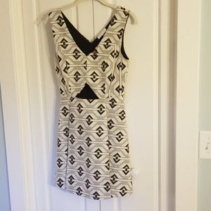 Boutique cutout dress with black/gold pattern